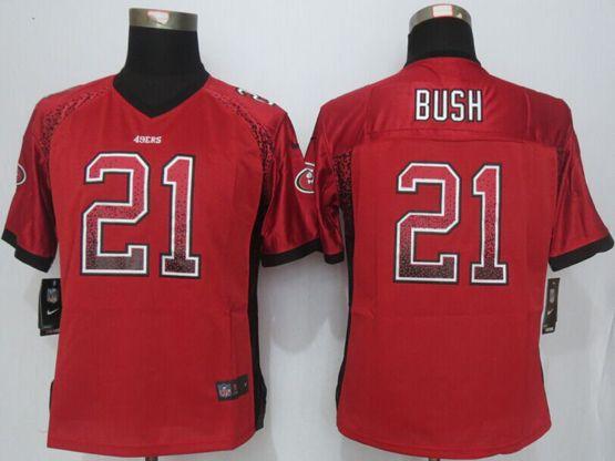 Women  New   Nfl San Francisco 49ers #21 Bush Drift Fashion Red Elite Jersey Sn