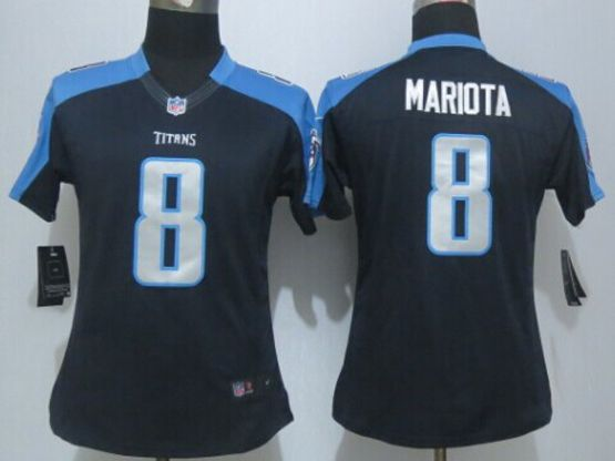 Women  New   Nfl Tennessee Titans #8 Mariota Navy Blue Limited Jersey
