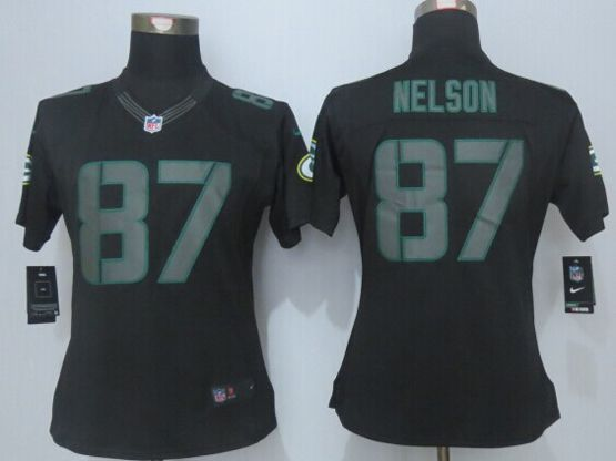 Women  New   Nfl Green Bay Packers #87 Nelson Black (new Impact Limited) Jersey