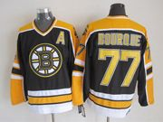 Mens nhl boston bruins #77 bourque black (yellow shoulder) throwbacks a patch Jersey