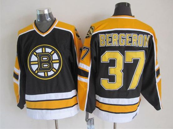 mens nhl boston bruins #37 Patrice Bergeron black (yellow shoulder) throwbacks jersey