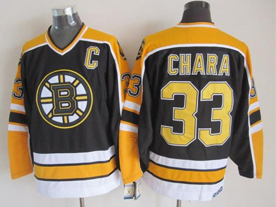 Mens nhl boston bruins #33 chara black (yellow shoulder) throwbacks c patch Jersey