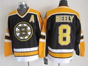 Mens nhl boston bruins #8 neely black (yellow shoulder) throwbacks a patch Jersey