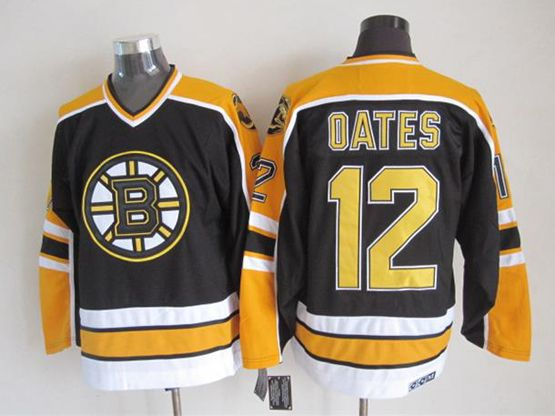 Mens nhl boston bruins #12 oates black (yellow shoulder) throwbacks Jersey