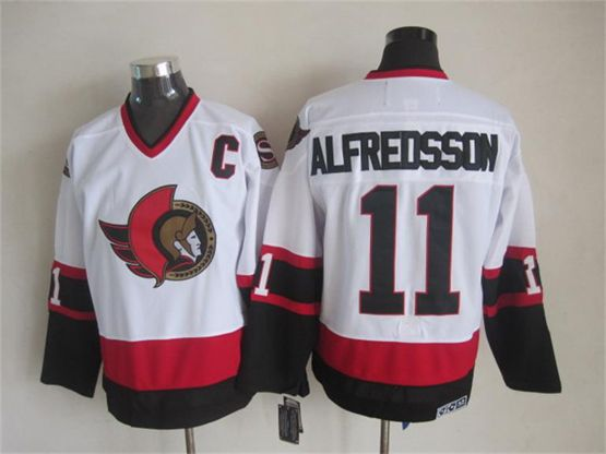 Mens nhl ottawa senators #11 alfreosson white throwbacks with c Jersey