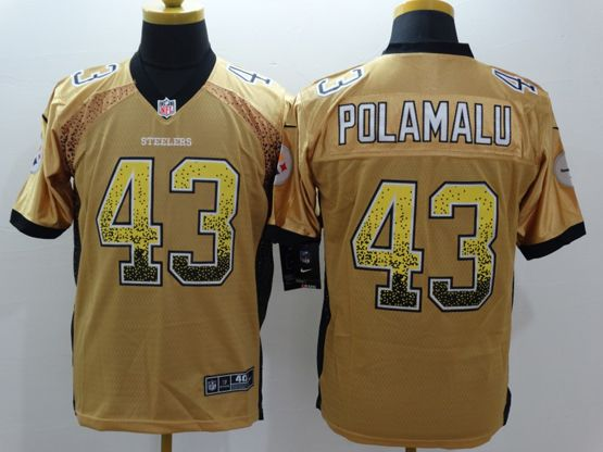 Mens Nfl Pittsburgh Steelers #43 Polamalu Drift Fashion Yellow Elite Jersey