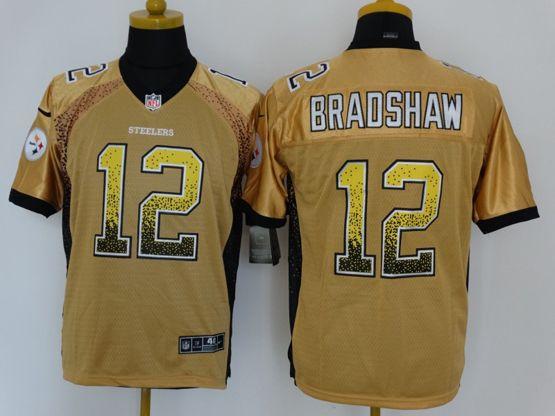 Mens Nfl Pittsburgh Steelers #12 Bradshaw Drift Fashion Yellow Elite Jersey