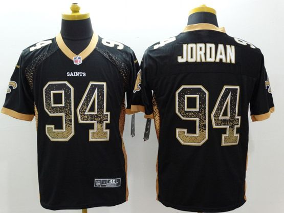 Mens Nfl New Orleans Saints #94 Jordan Black Drift Fashion Elite Jersey