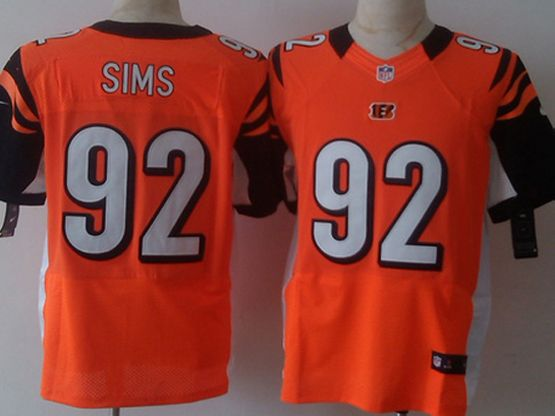 Mens Nfl Cincinnati Bengals #92 Sims Orange Elite Jersey
