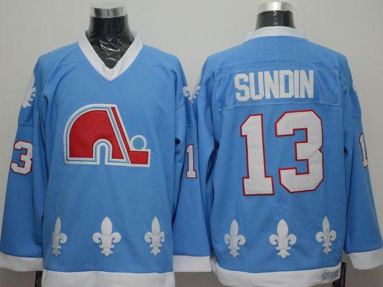 Mens nhl quebec nordiques #13 sundin light blue Jersey