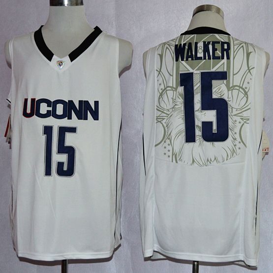Mens Ncaa Nba Uconn Huskies #15 Walker White Jersey