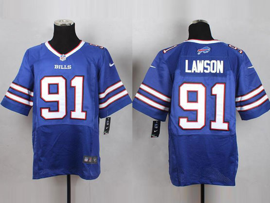 Mens Nfl Buffalo Bills #91 Lawson Light Blue Elite Jersey