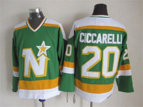 Mens Nhl Dallas Stars #20 Ciccarelli Green(white Shoulder) Throwbacks Ccm Jersey Dt