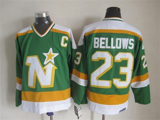 Mens Nhl Dallas Stars #23 Bellows Green(white Shoulder) Throwbacks Jersey Dt