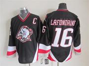 Mens nhl buffalo sabres #16 lafontaine black throwbacks Jersey