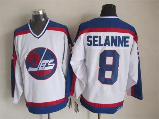 Mens nhl winnipeg jets #8 selanne white throwbacks(blue shoulder)Jersey