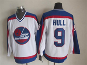 Mens nhl winnipeg jets #9 hull white throwbacks(blue shoulder)Jersey