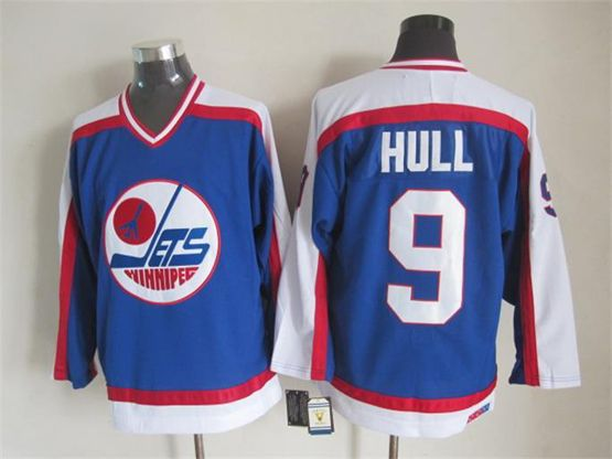 Mens nhl winnipeg jets #9 hull blue throwbacks(white shoulder)Jersey