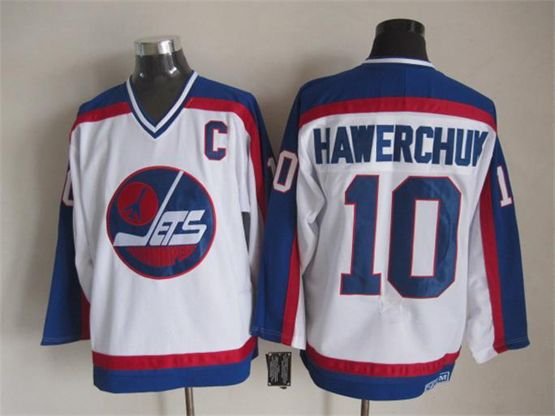 Mens Nhl Winnipeg Jets #10 Hawerchuk White Throwbacks(blue Shoulder)jersey Dt With C Patch