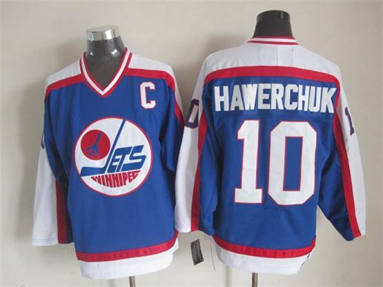 Mens Nhl Winnipeg Jets #10 Hawerchuk Blue Throwbacks(white Shoulder)jersey Dt With C Patch