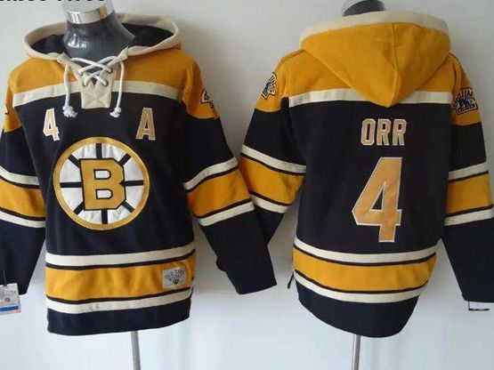 mens nhl Boston Bruins #4 Bobby Orr black hoodie jersey