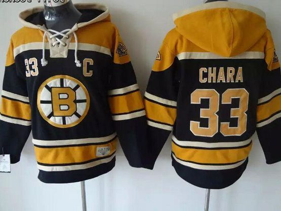 Mens nhl boston bruins #33 chara black hoodie Jersey