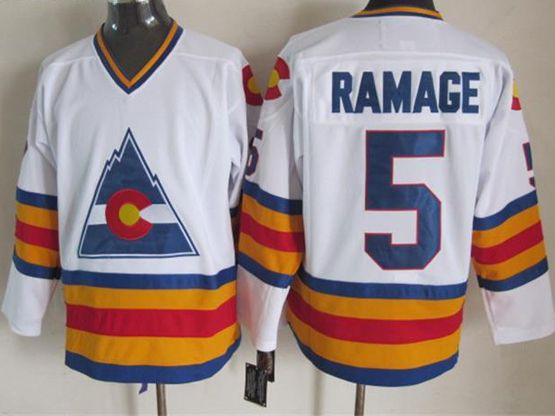 Mens nhl colorado avalanche #5 ramage white throwbacks Jersey