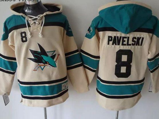 Mens nhl san jose sharks #8 pavelski cream color old time hoodie Jersey