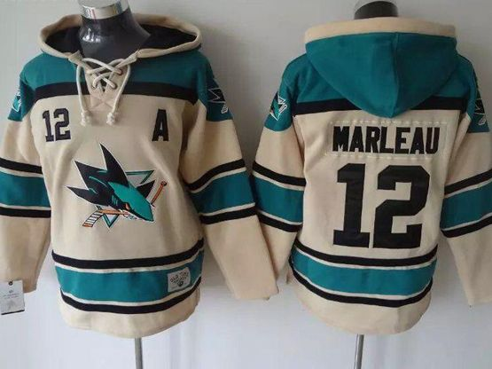 Mens nhl san jose sharks #12 marleau cream color old time hoodie Jersey