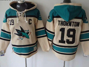 Mens nhl san jose sharks #19 thornton cream color old time hoodie Jersey