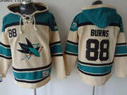 Mens nhl san jose sharks #88 burns cream color old time hoodie Jersey