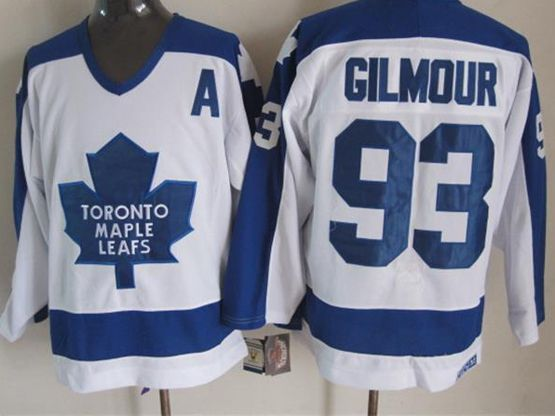 Mens nhl toronto maple leafs #93 gilmour white throwbacks a patch Jersey