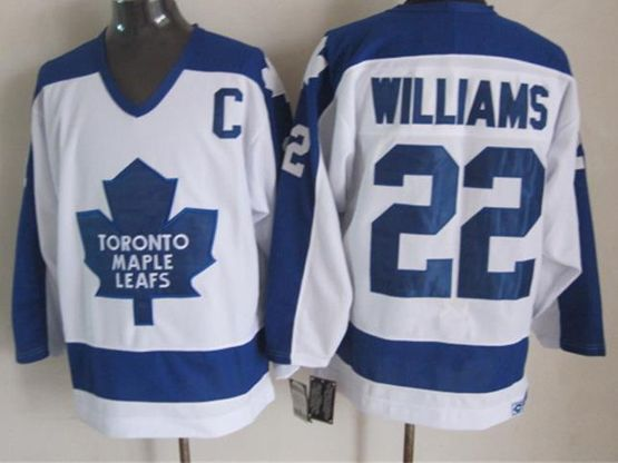 Mens nhl toronto maple leafs #22 williams white throwbacks c patch Jersey