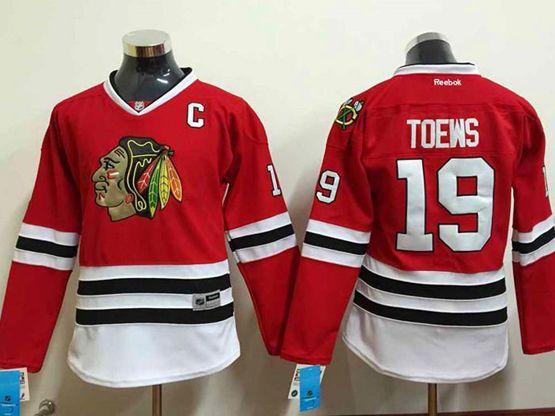Women Reebok Nhl Chicago Blackhawks #19 Toews Red Jersey
