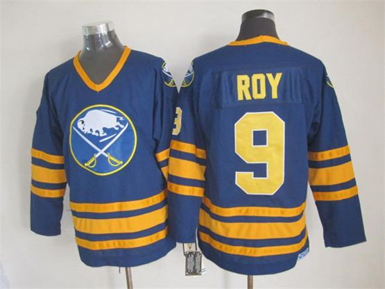 Mens nhl buffalo sabres #9 roy blue throwbacks Jersey
