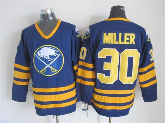 Mens nhl buffalo sabres #30 miller blue throwbacks Jersey