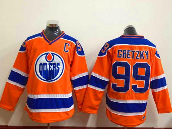 Mens nhl edmonton oilers #99 gretzky orange Jersey