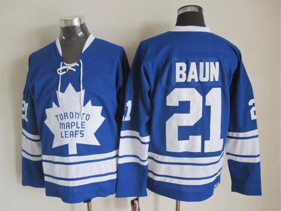 Mens Nhl Toronto Maple Leafs #21 Baun Blue Throwbacks Jersey Dt Sn