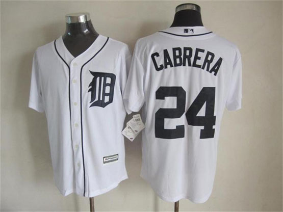 Mens Mlb Detroit Tigers #24 Cabrera White (2015 Majestic) Jersey