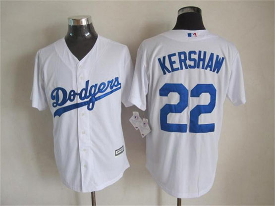 Mens mlb los angeles dodgers #22 kershaw white (majestic) Jersey