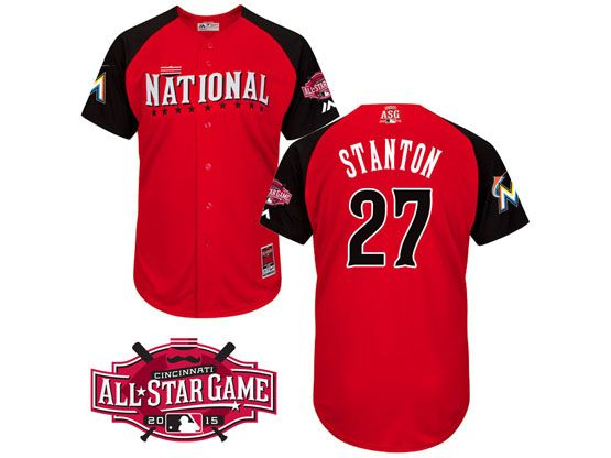 Mens Mlb 2015 All Star Miami Marlins #27 Stanton Red Jersey
