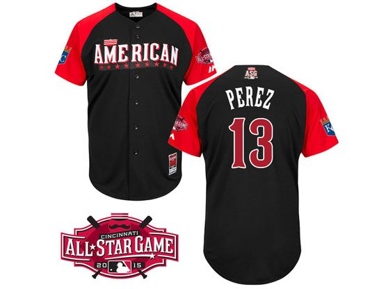 Mens Mlb 2015 All Star Kansas City Royals #13 Perez Black Jersey