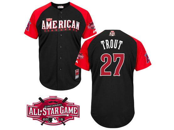 Mens Mlb 2015 All Star Angeles Angels #27 Trout Black Jersey