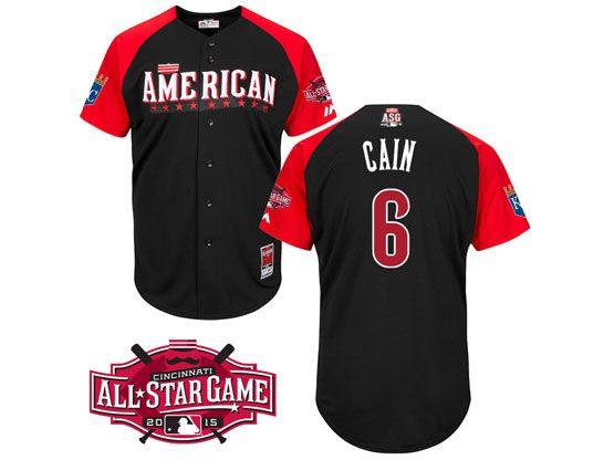Mens Mlb 2015 All Star Kansas City Royals #6 Cain Black Jersey