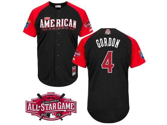 Mens Mlb 2015 All Star Kansas City Royals #4 Gordon Black Jersey
