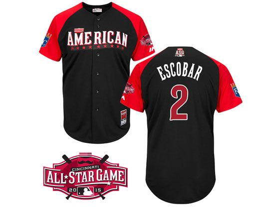 Mens Mlb 2015 All Star Kansas City Royals #2 Escobar Black Jersey