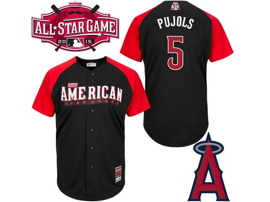Mens Mlb 2015 All Star Angeles Angels #5 Pujols Black Jersey