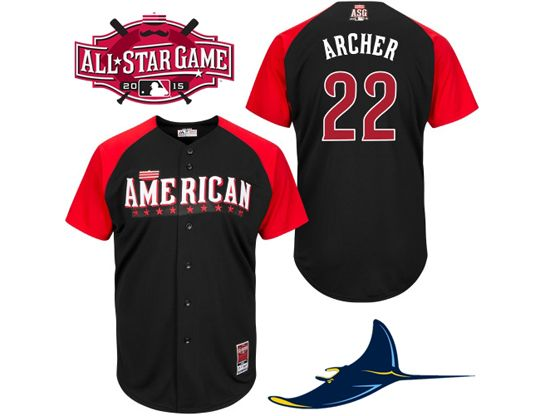 Mens Mlb 2015 All Star Tampa Bay Rays #22 Archer Black Jersey
