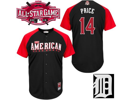 Mens Mlb 2015 All Star Detroit Tigers #14 Price Black Jersey