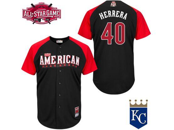 Mens Mlb 2015 All Star Kansas City Royals #40 Herrera Black Jersey